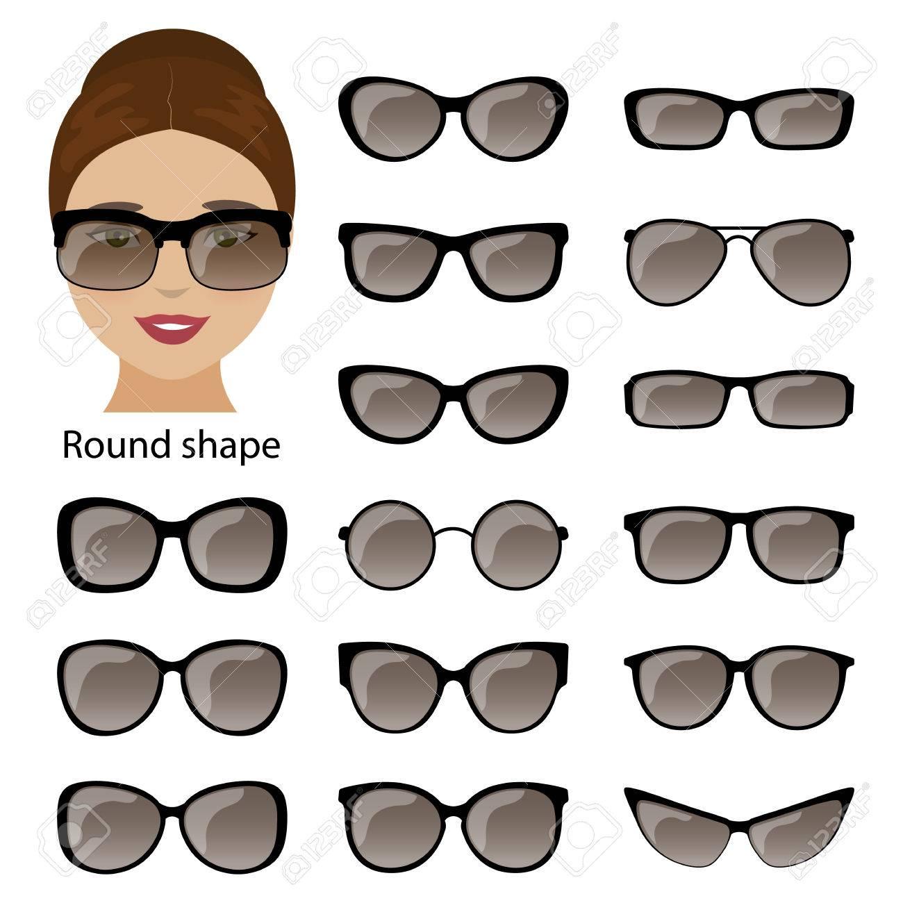 Brillenfassungen Für Runde Frauen Gesicht. Vektor Lizenzfrei ...