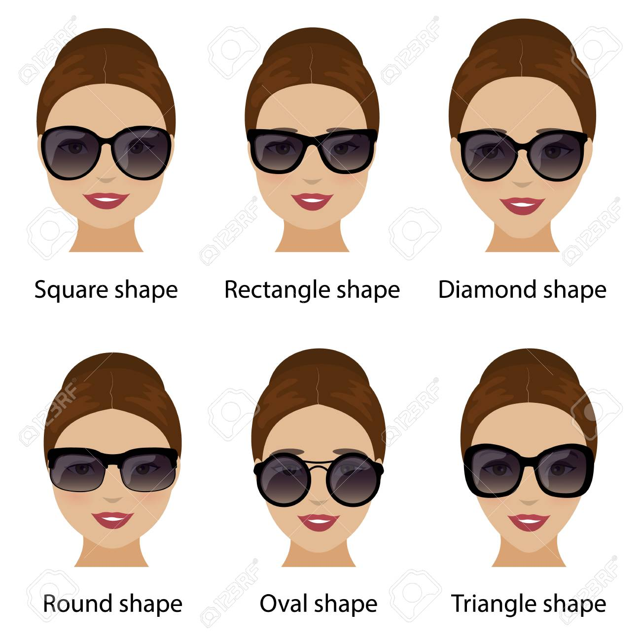 71e2be2e54 Vector. Spectacle frames shapes and different types of women face shapes.  Face types as oval