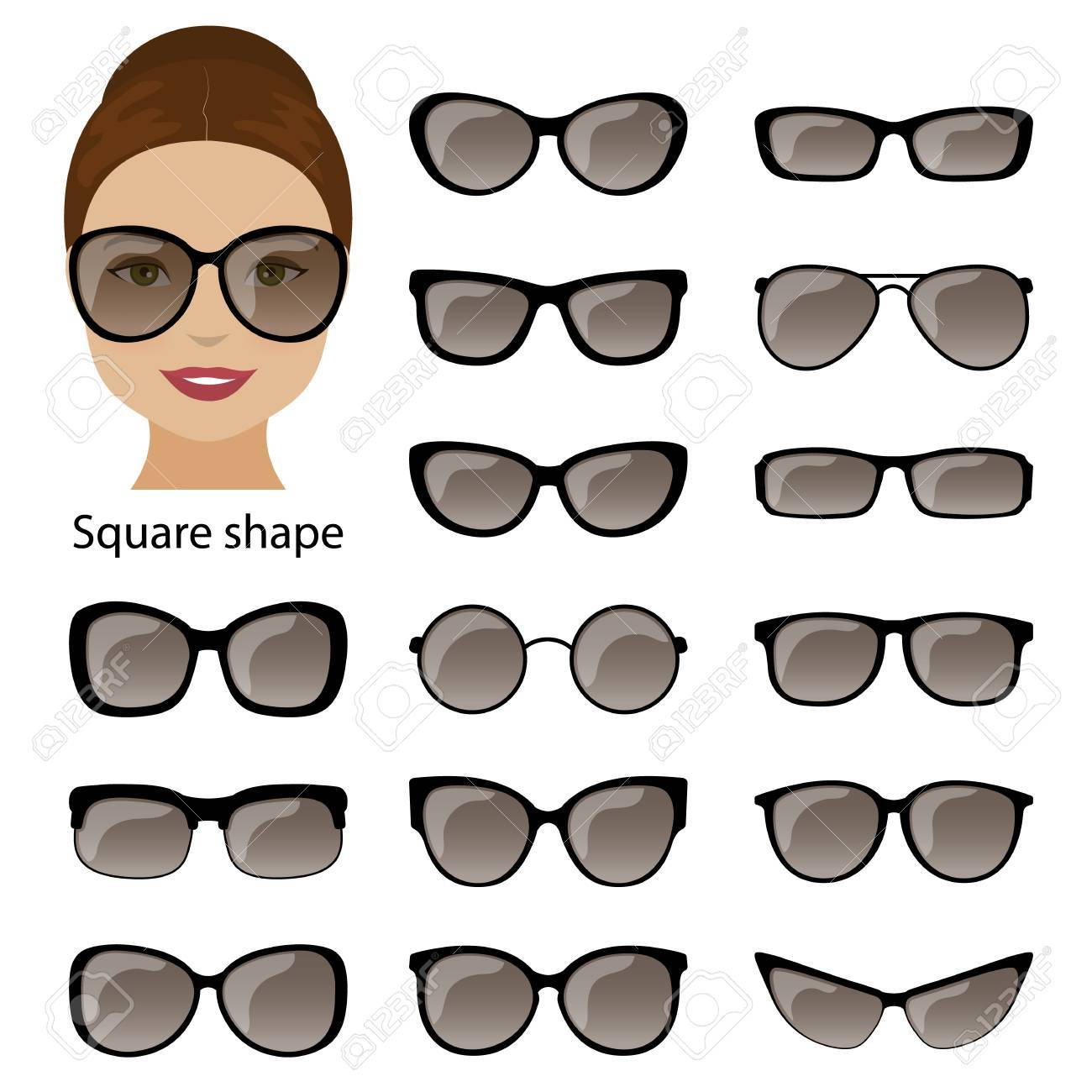 Brillenfassungen Für Quadratische Frauen Gesicht. Vektor Lizenzfrei ...