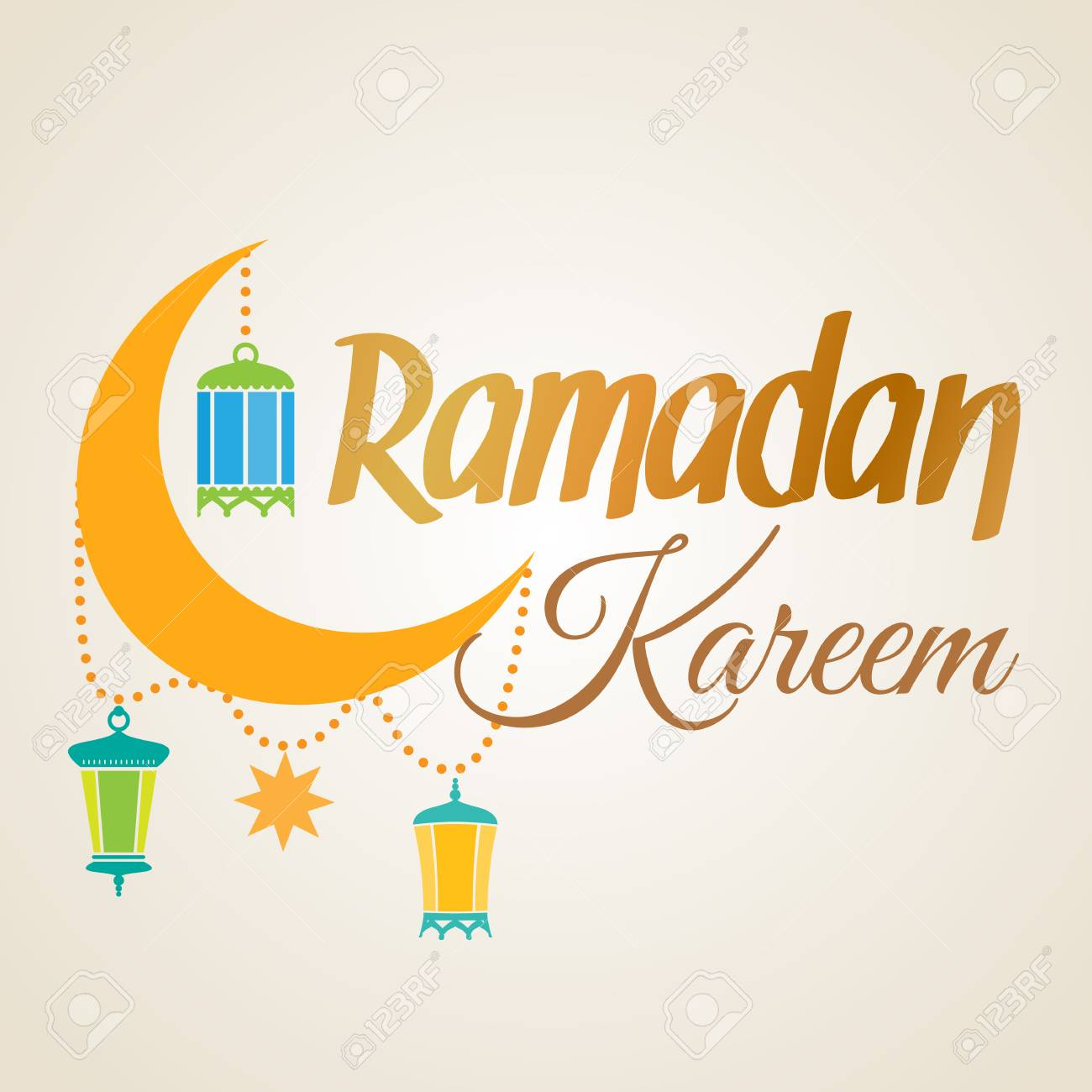 Ramadan Kareem Greeting Card Islamic Crescent Moon And Lantern