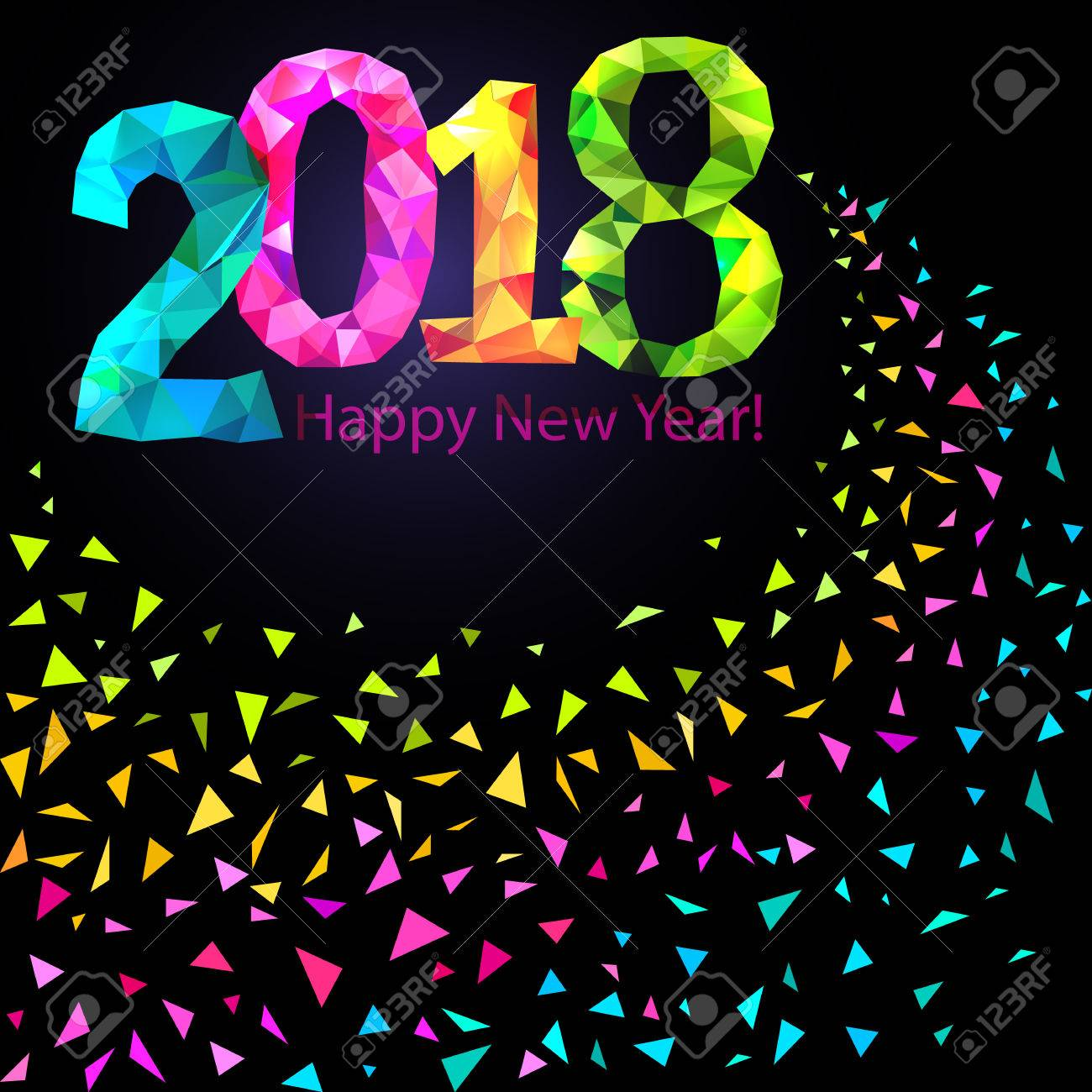 happy new year 2018 greeting card festive illustration with colorful confetti party popper and