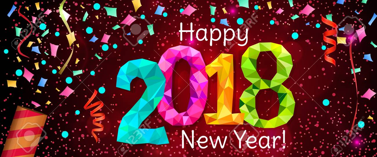 Happy New Year 2018 greeting horizontal banner. Festive illustration with colorful confetti, party popper and sparkles. Vector - 82769590