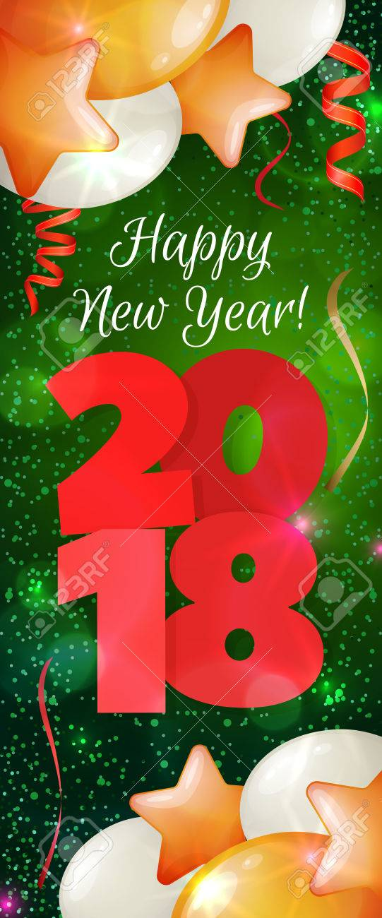happy new year 2018 greeting vertical banner festive illustration with colorful confetti party popper