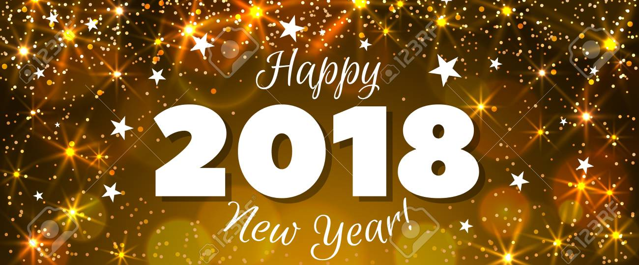 happy new year 2018 greeting horizontal banner festive illustration with colorful confetti party popper