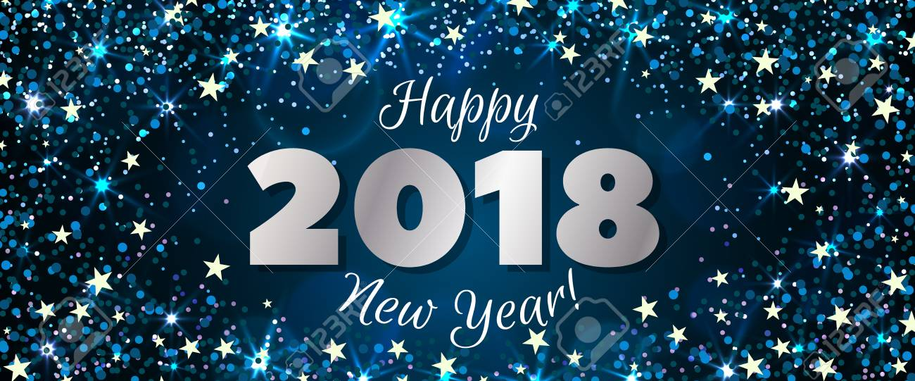 Happy New Year 2018 Greeting Horizontal Banner. Festive Illustration ...