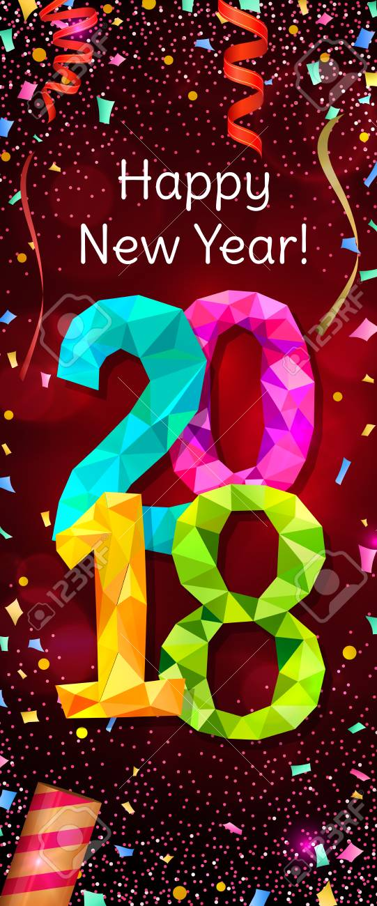 happy new year 2018 greeting vertical banner stock vector 83170406