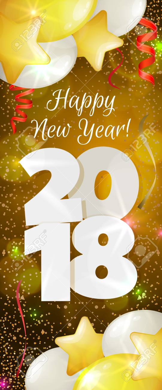 happy new year 2018 greeting vertical banner stock vector 83170407