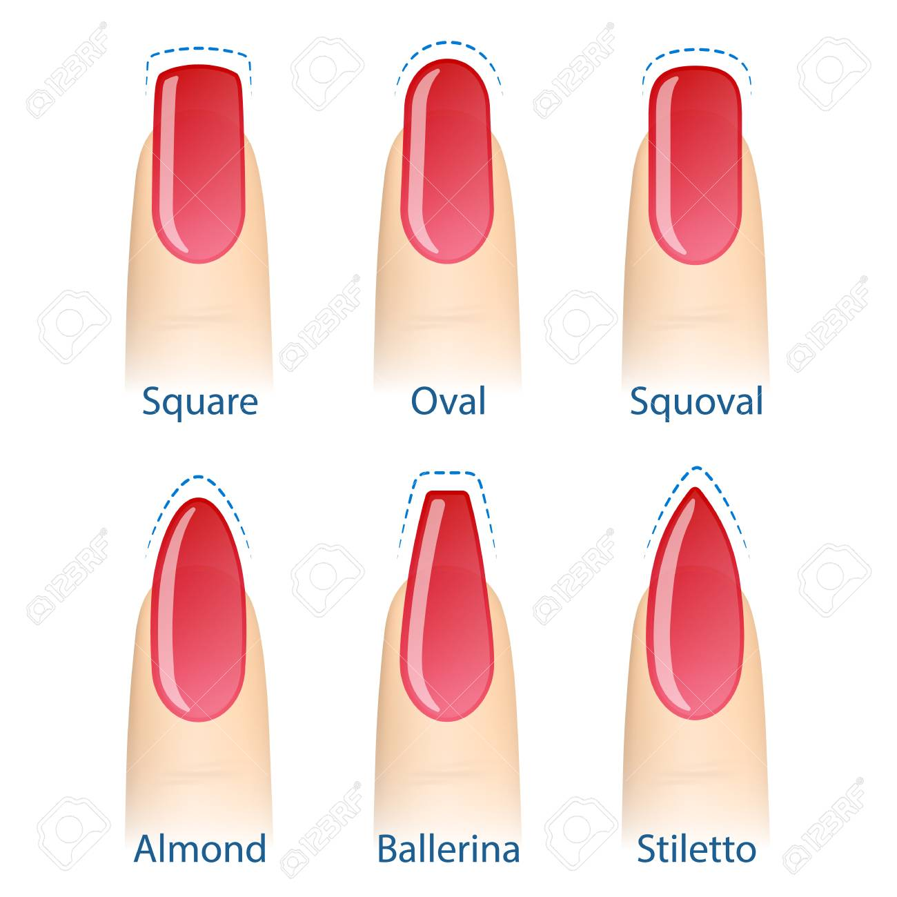 Nail Manicure, Set Of Nails Shapes - Oval, Square, Almond, Stiletto ...