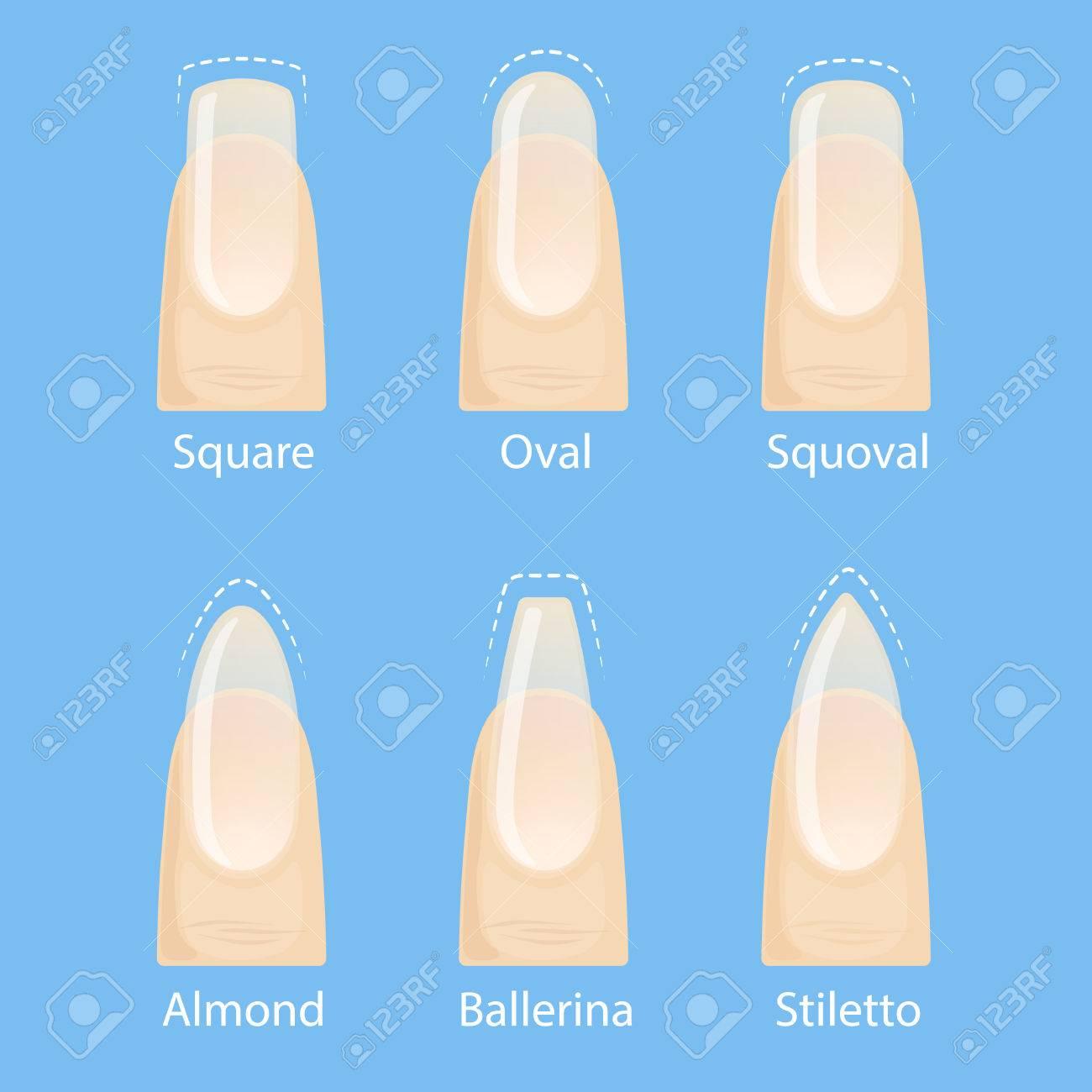 nagel maniküre, satz von nägel formen - oval, quadratisch, mandel