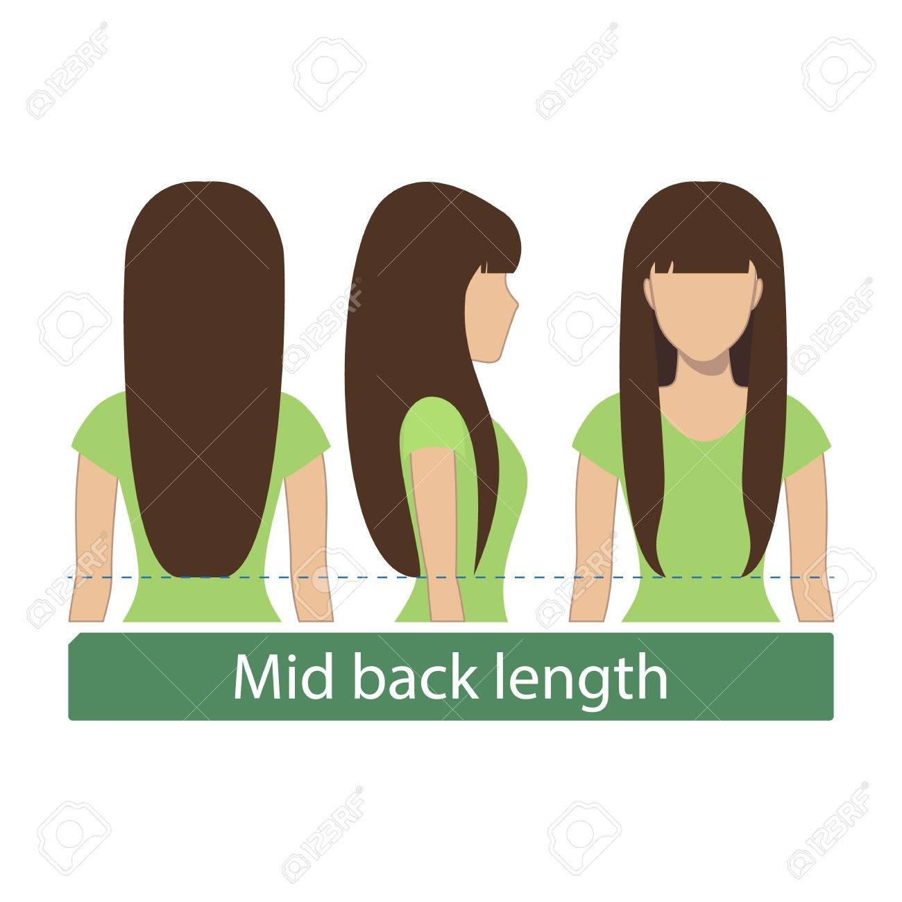 Hair Length For Haircuts And Hairstyles Mid Back Length Vector