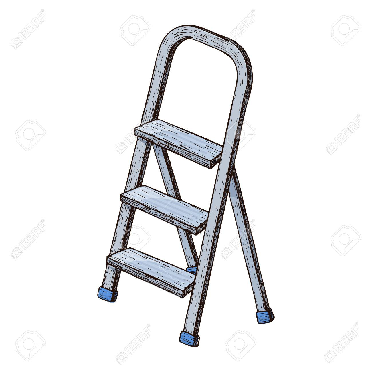 Stepladder on white background, colorful sketch illustration of repair tool. Vector - 87909757