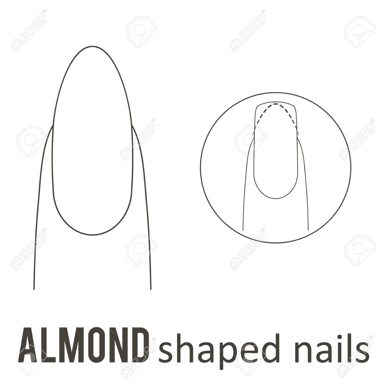 ネイル マニキュア、アーモンド爪の形を作る方法。