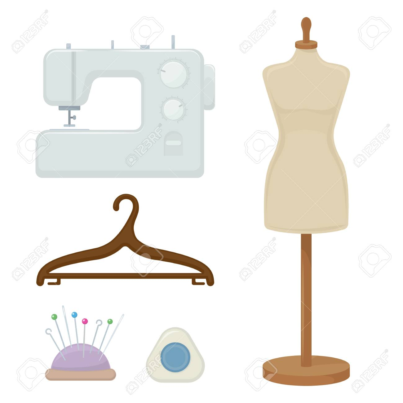 Female tailors dummy, sewing machine, hanger, cartoon illustration of tool for for sewing. Vector - 89500628