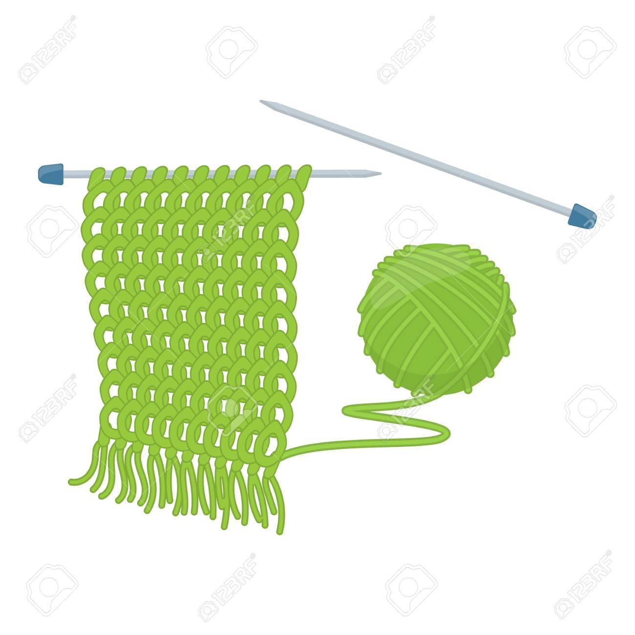 Tangle Of Yarn And Knitting Needles Cartoon Illustration Of
