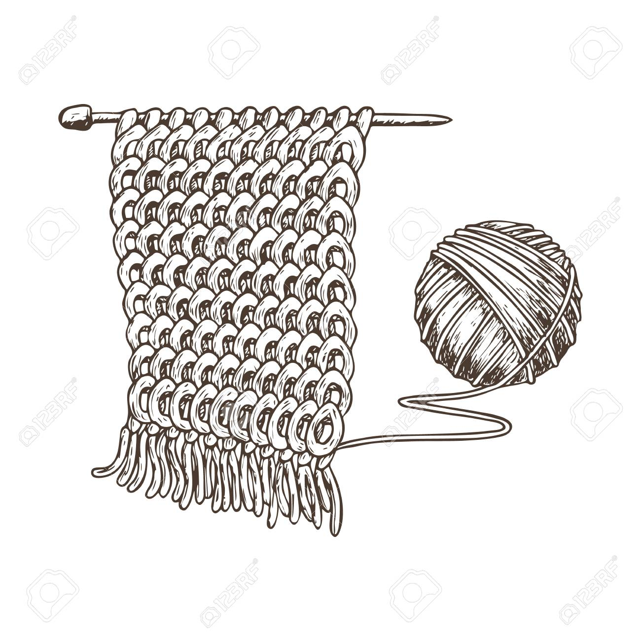 Tangle Of Yarn And Knitting Needles Sketch Illustration Of Accessories Royalty Free Cliparts Vectors And Stock Illustration Image 89978439