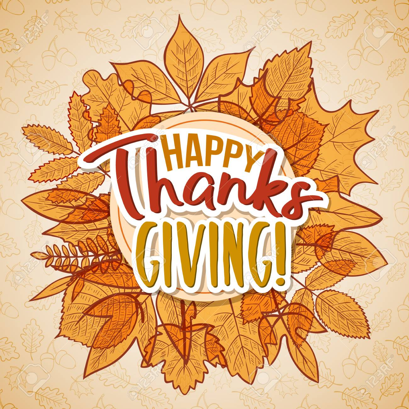 Thanksgiving Day Greetings And Autumn Leaves Cartoon Illustration