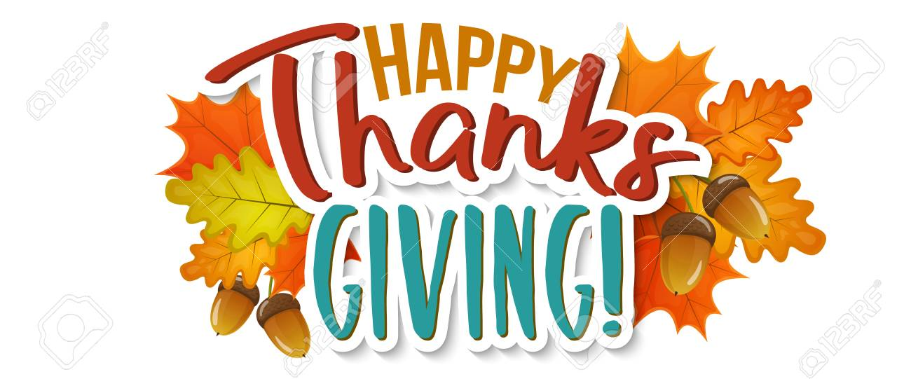 Thanksgiving day greetings and autumn leaves, cartoon illustration. Thanksgiving Day background for decoration. Vector - 89978440