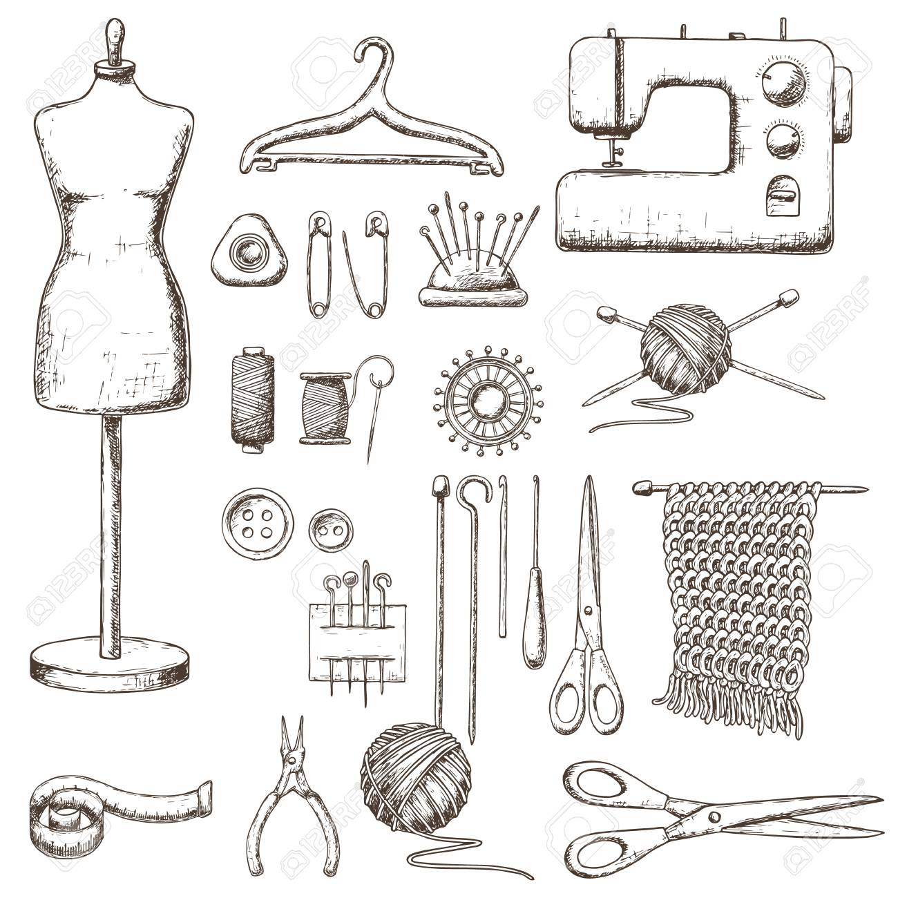Set Of Tools For Needlework And Sewing Handmade Equipment And Royalty Free Cliparts Vectors And Stock Illustration Image 90106893