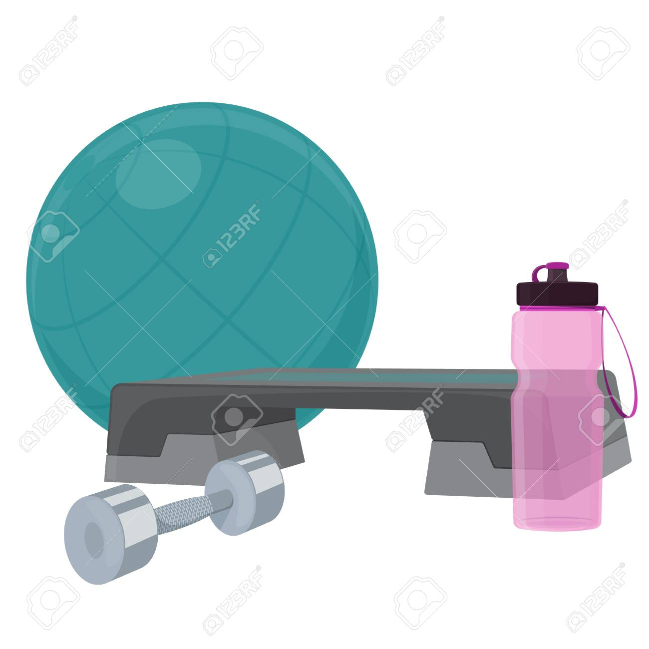 Set Of Fitness Accessories Cartoon Illustration Of Gym Equipment Royalty Free Cliparts Vectors And Stock Illustration Image 90669523