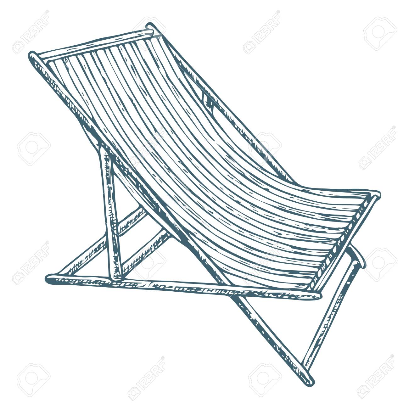 Beach lounge chair on white background, cartoon illustration of beach accessories for summer holidays. Vector - 93710362