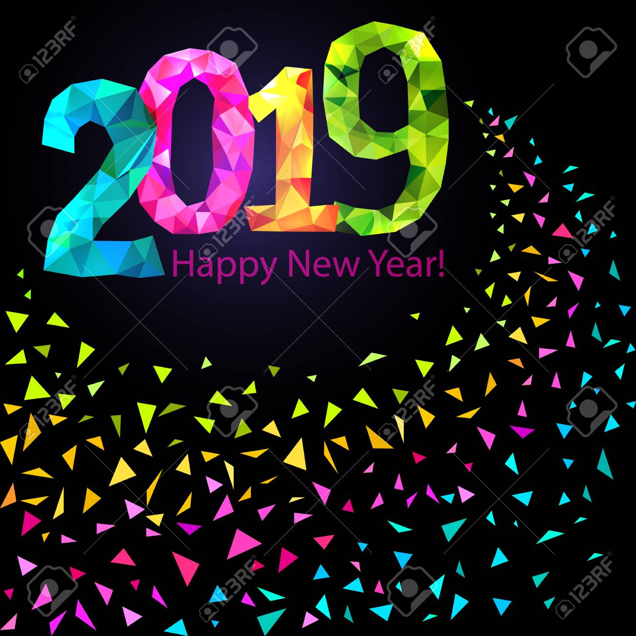vector happy new year 2019 greeting banner festive background with colorful confetti party popper and