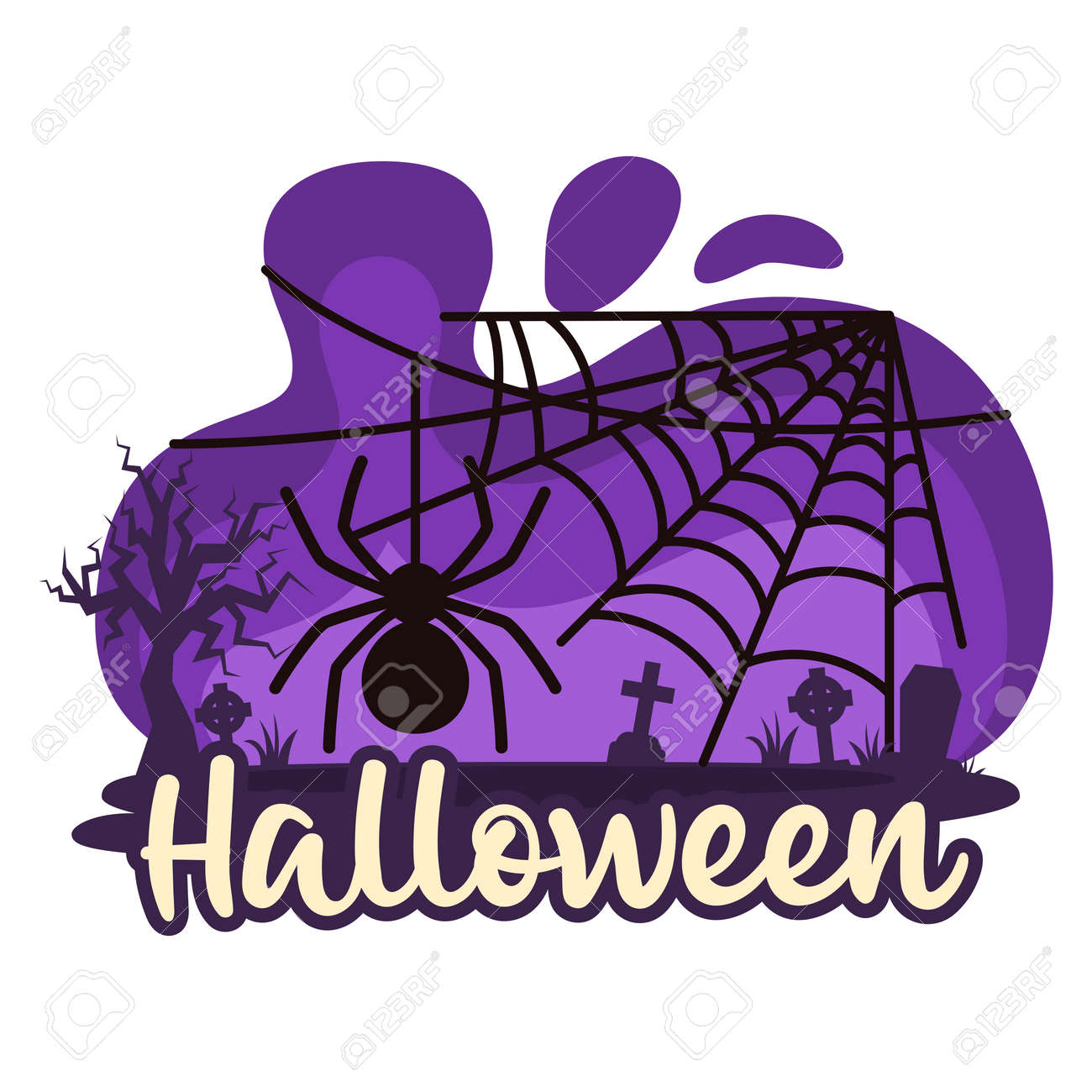 Halloween premade composition with cobweb and spider. Vector - 161156579