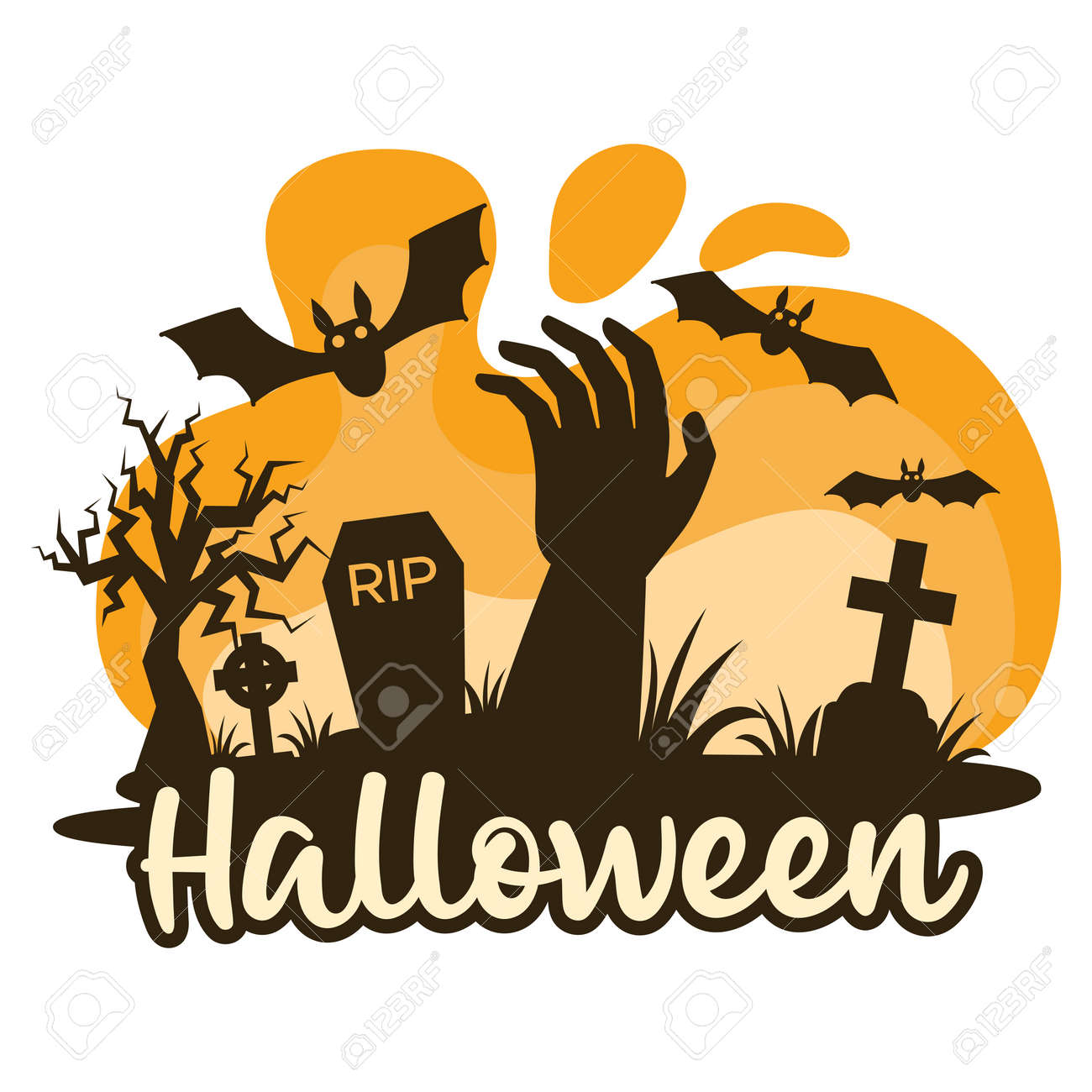 Halloween premade composition with graves, cemetery and zombie hand. Vector - 161156580