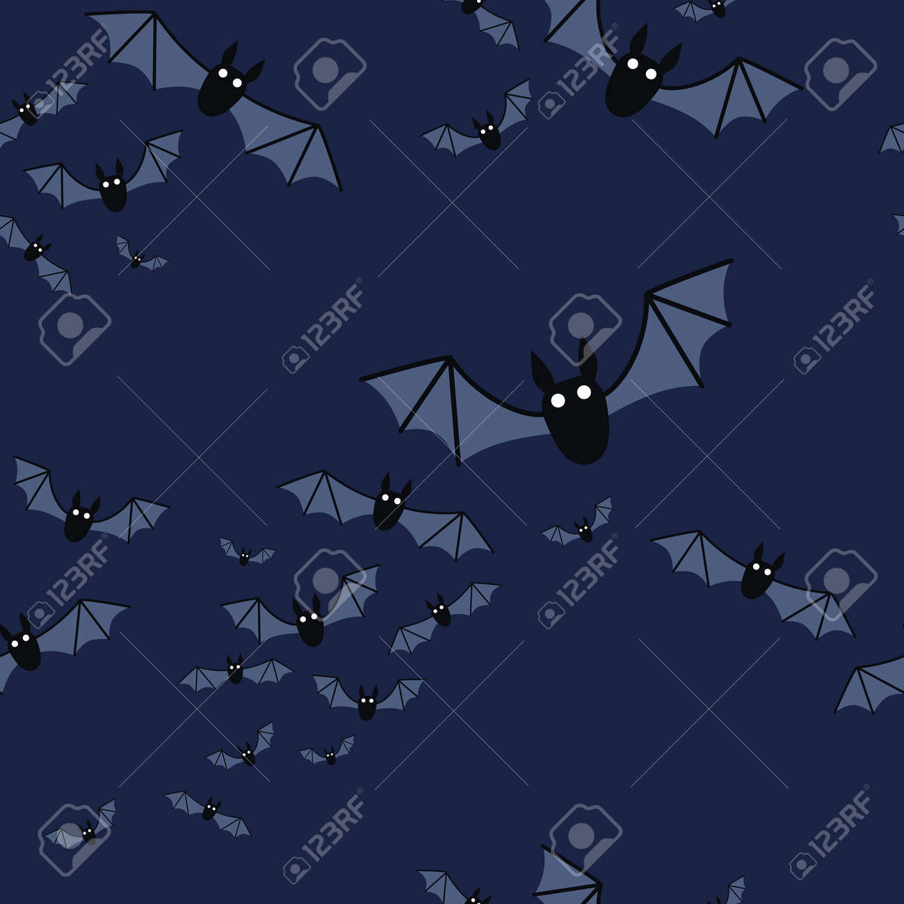 Halloween seamless pattern with flying bats. Vector - 161156582