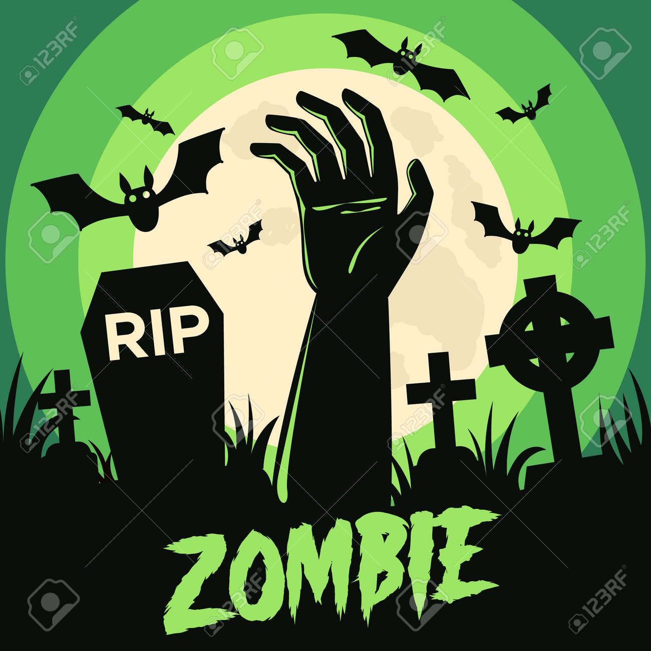 Happy Halloween background with Halloween elements, graves, cemetery and zombie hand. Halloween party poster. Vector - 161156587