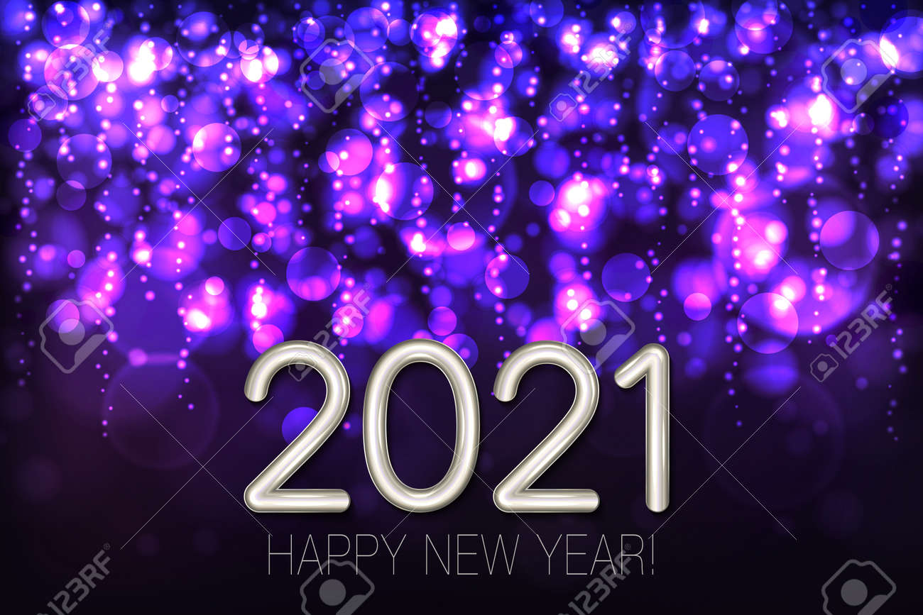 Happy New Year 2021 shining background with purple glitter and confetti. Vector - 161156591