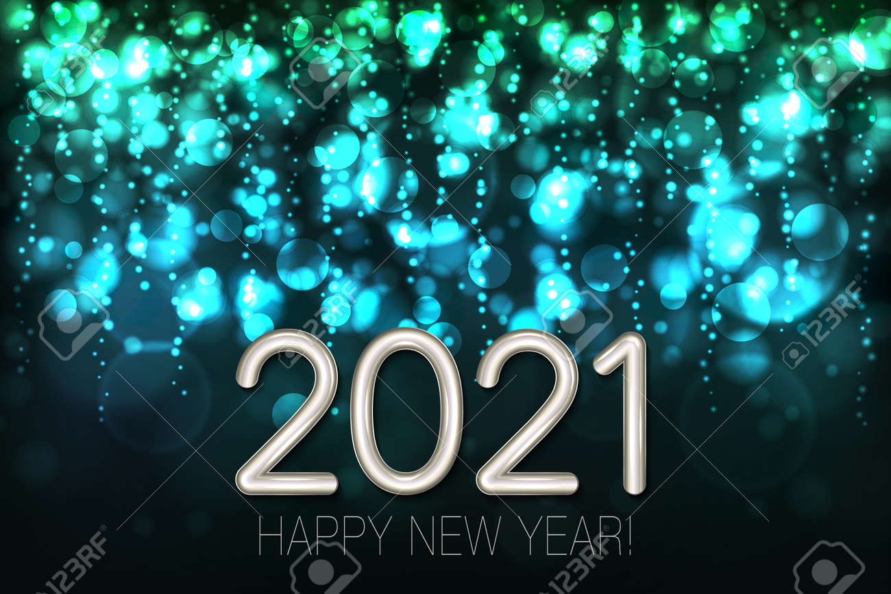 Happy New Year 2021 shining background with turquoise glitter and confetti. Vector - 161156593