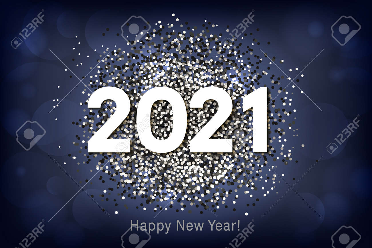 Happy New Year 2021 background with multicolored glitter and confetti. Vector - 161156595