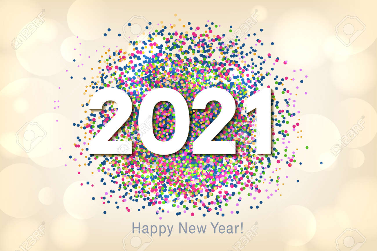 Happy New Year 2021 background with multicolored glitter and confetti. Vector - 161156596