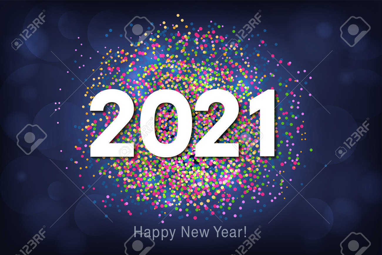 Happy New Year 2021 background with multicolored glitter and confetti. Vector - 161156597