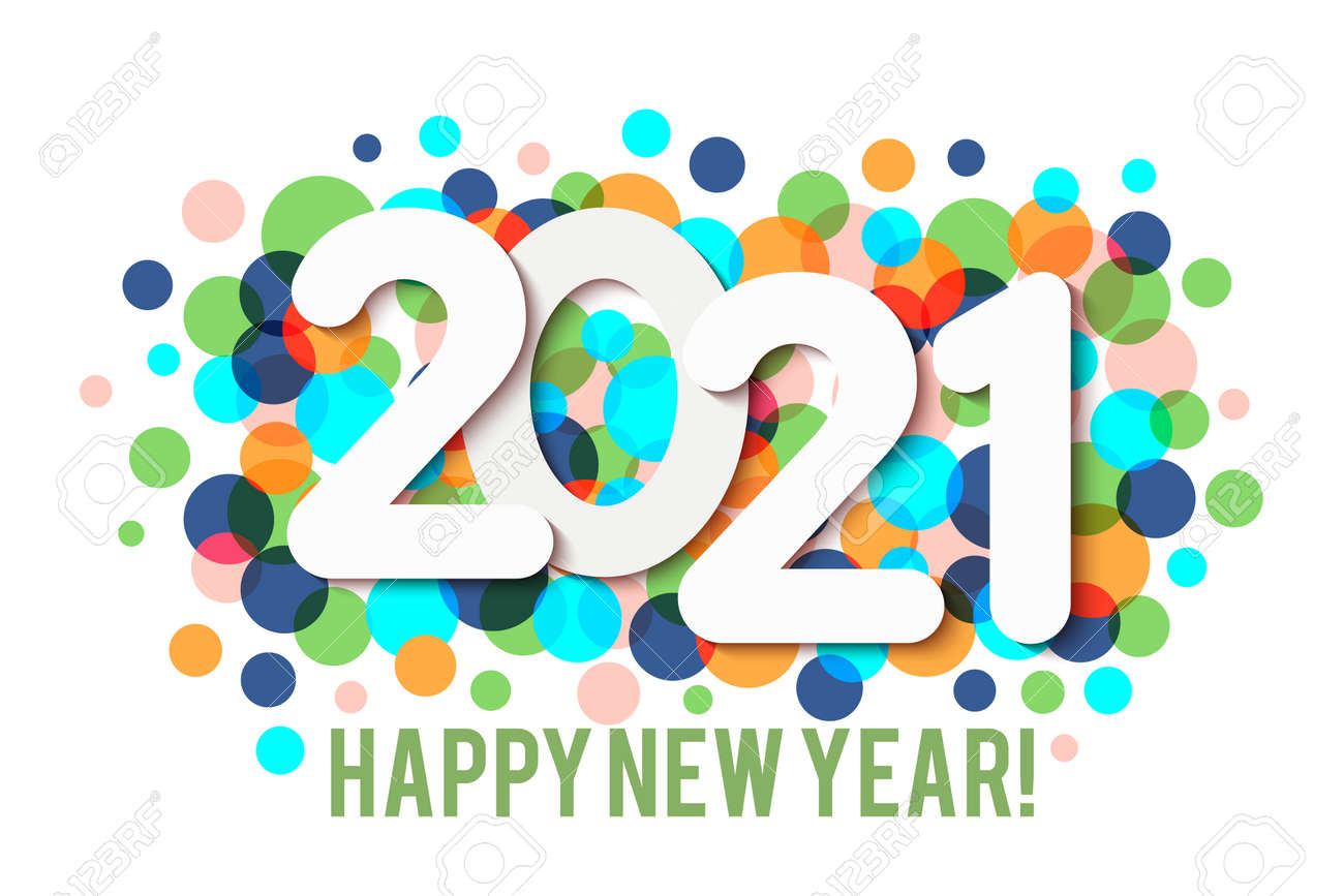 Happy New Year 2021 background with multicolored confetti. Vector - 161156599