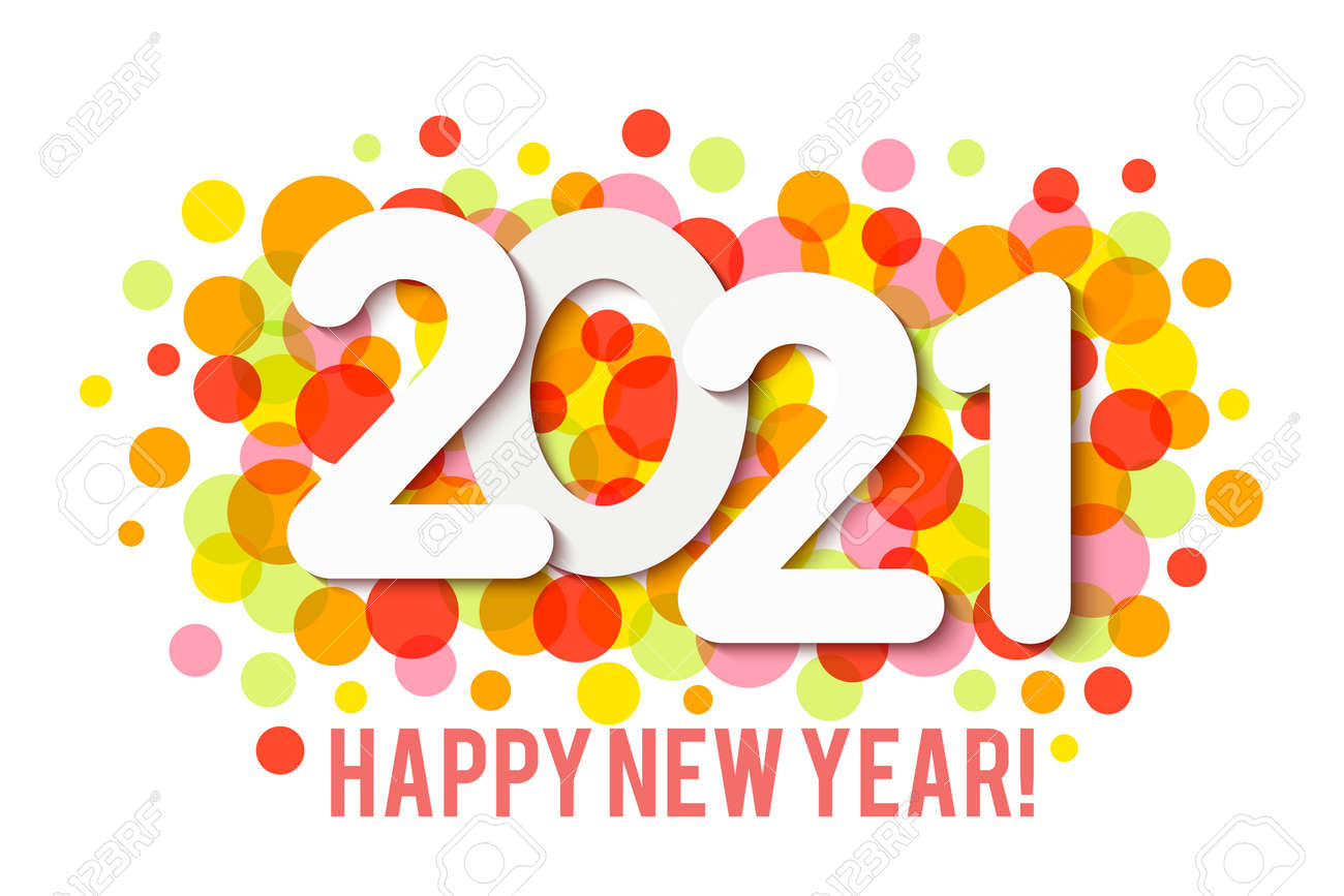 Happy New Year 2021 background with multicolored confetti. Vector - 161156601