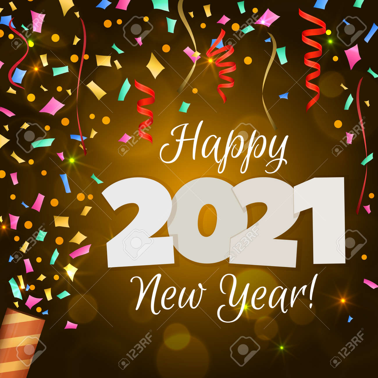 Happy New Year 2021 greeting banner. Festive background with colorful confetti, party popper and sparkles. Vector - 161156605
