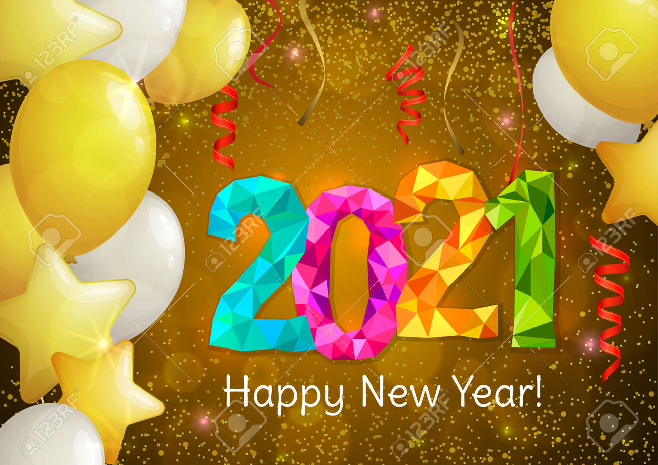 Happy New Year 2021 greeting banner. Festive background with colorful confetti, party popper and sparkles. Vector - 161156620