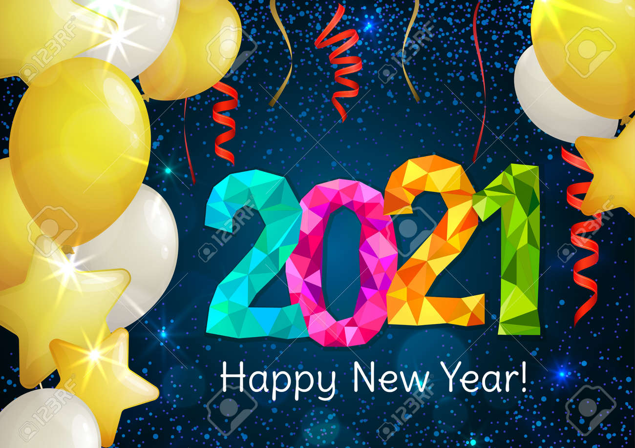 Happy New Year 2021 greeting banner. Festive background with colorful confetti, party popper and sparkles. Vector - 161156621