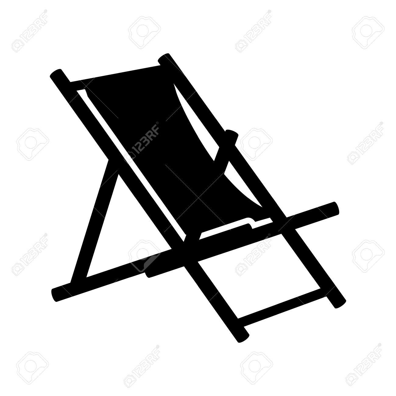 Beach Chair Icon   Beach Chaise Longue Stock Vector   45754692