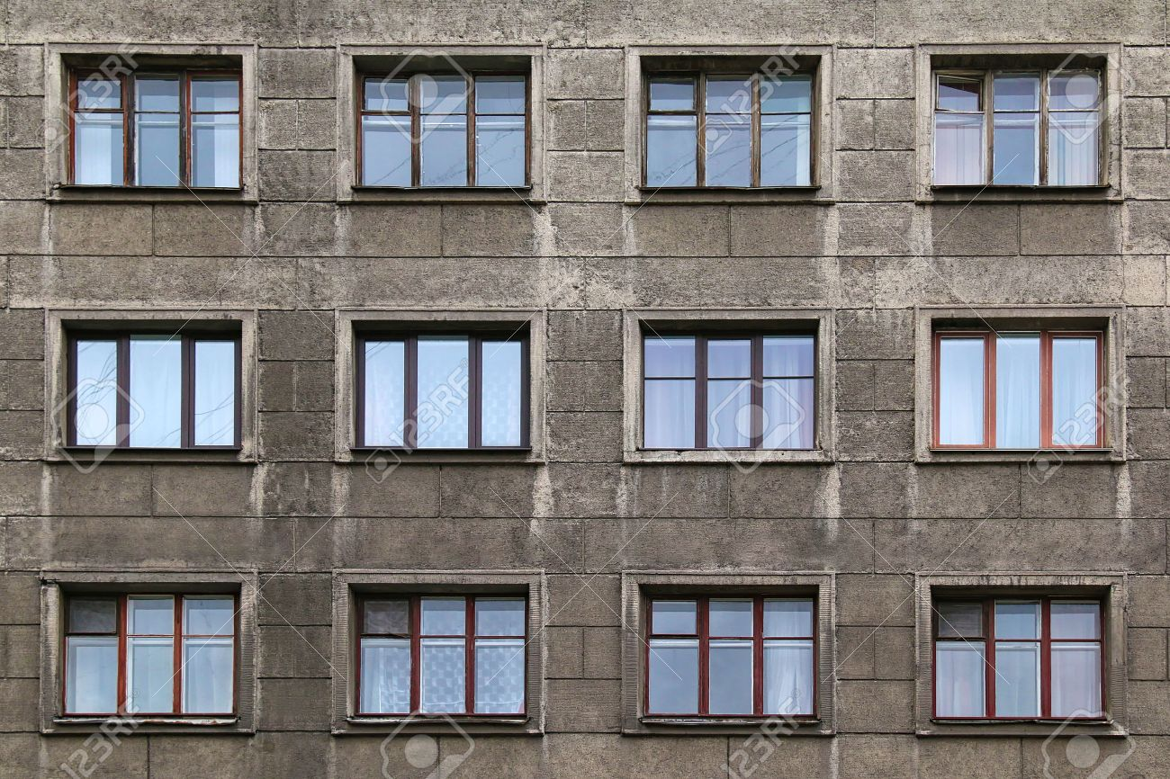 Superieur Windows In A Row On Facade Of Apartment Building Stock Photo   54173438