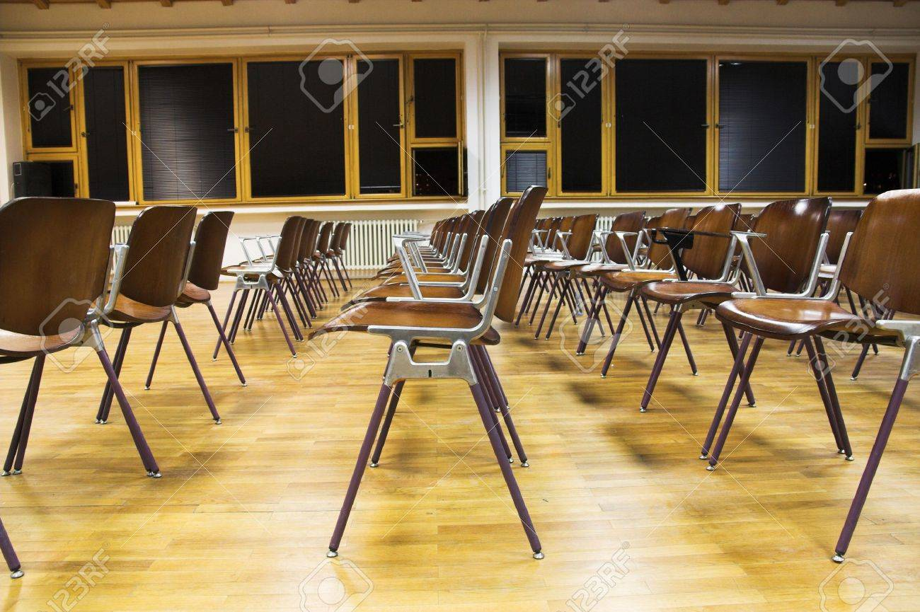 Empty chair in room - Empty Classroom Rows Of Student Chairs In Empty University Classroom Stock Photo 4421876