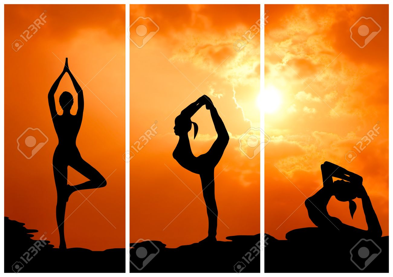 collection of healthy woman practice yoga at sunset silhouetted Stock Photo - 13224613