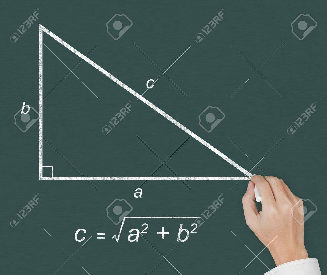 Mathematics Teacher Hand Writing Geometry Picture And Calculation ...