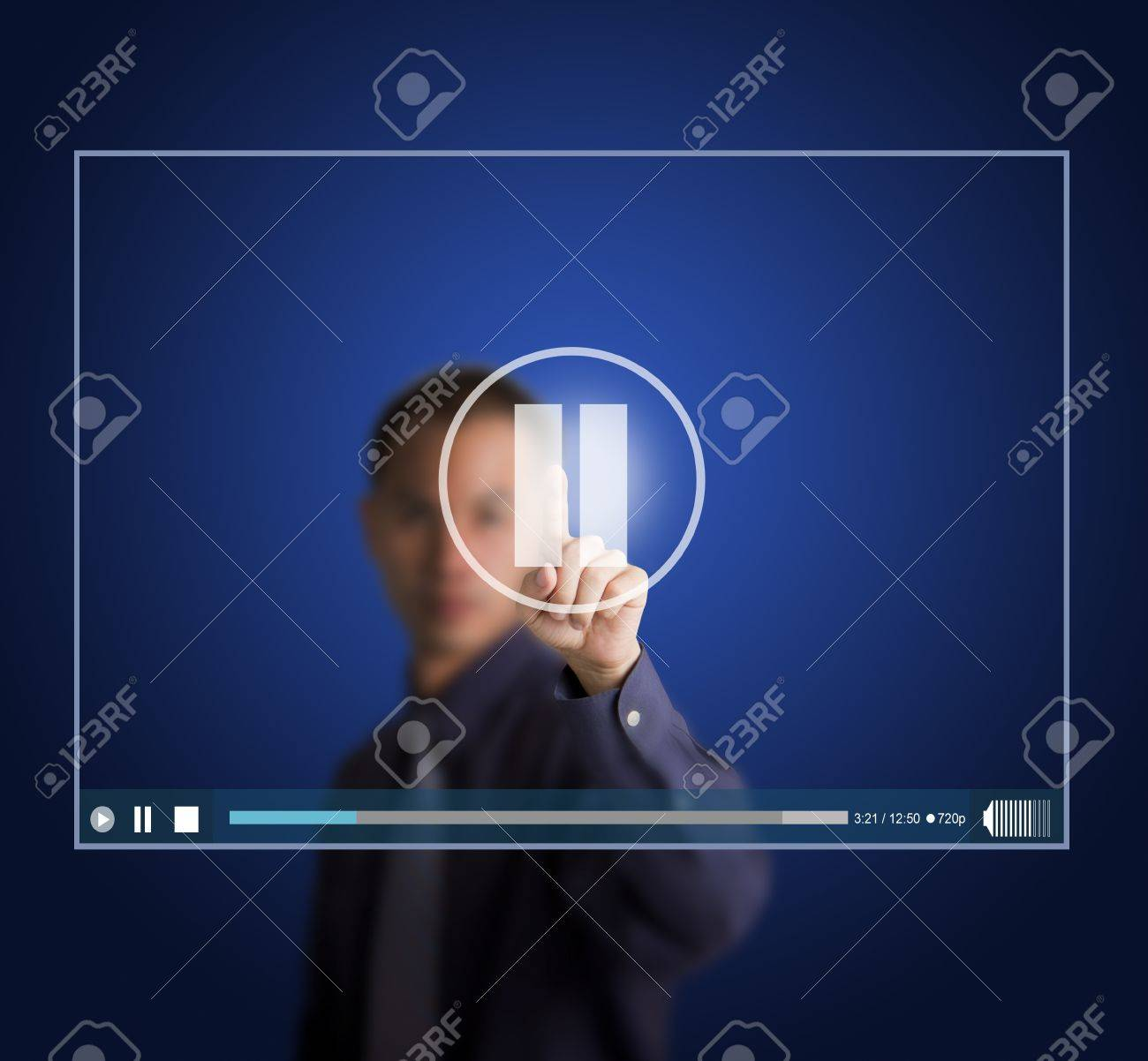 business man push pause button on touch screen to suspend video clip Stock Photo - 13225037