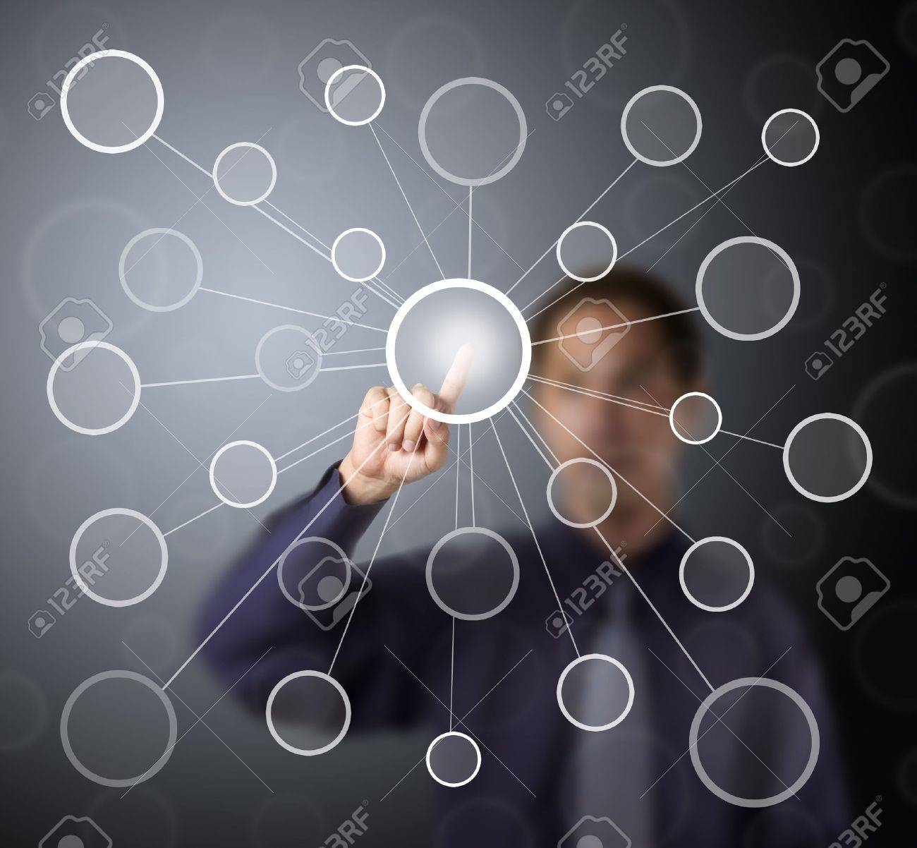 business man push centric link circle touch screen button Stock Photo - 13225214