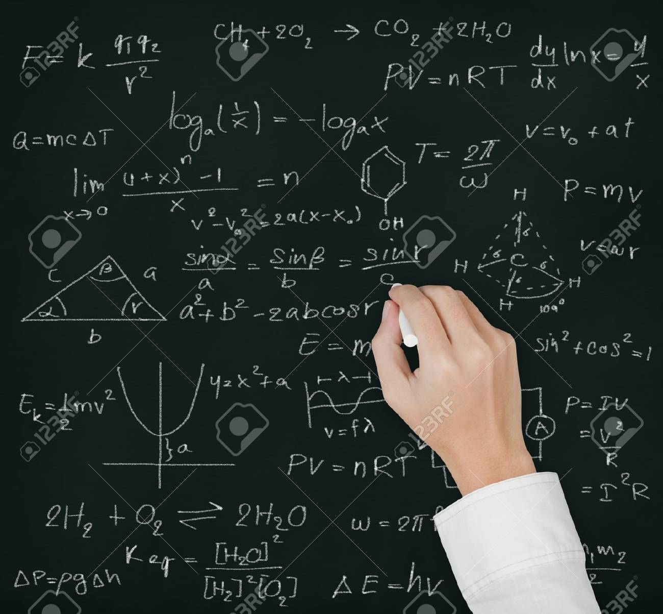 Teacher Hand Writing Various High School Maths And Science Formula ...