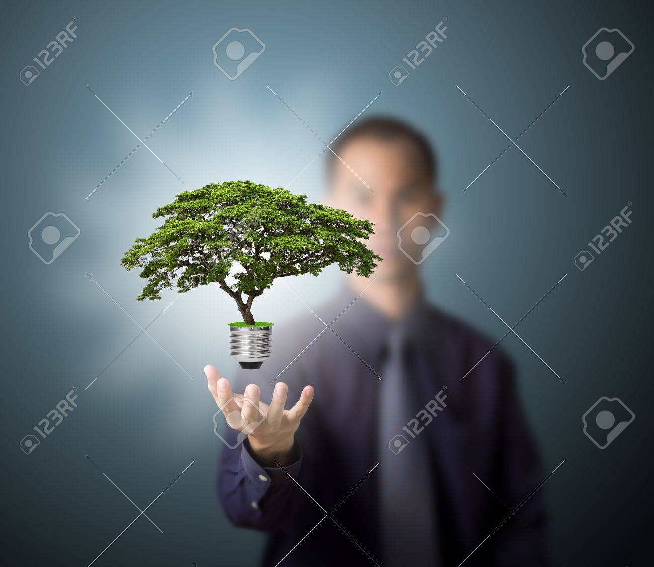 future eco - green energy concept, light bulb of tree in man hand Stock Photo - 13225222