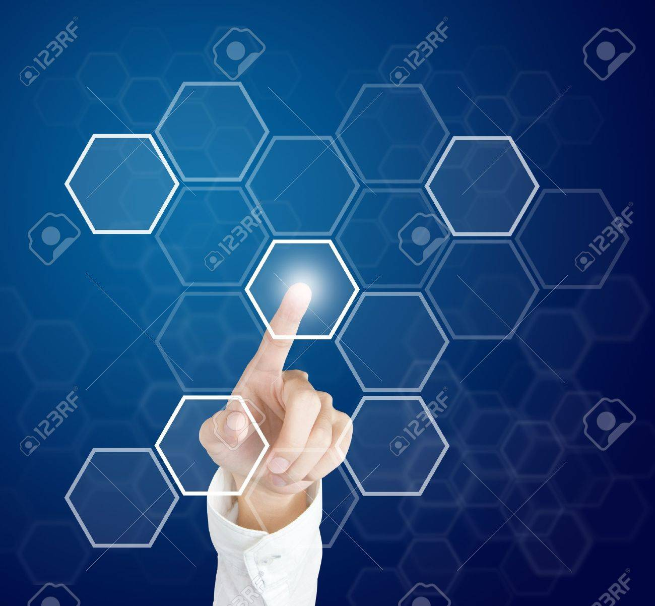 hand pushing touch screen button Stock Photo - 13225216