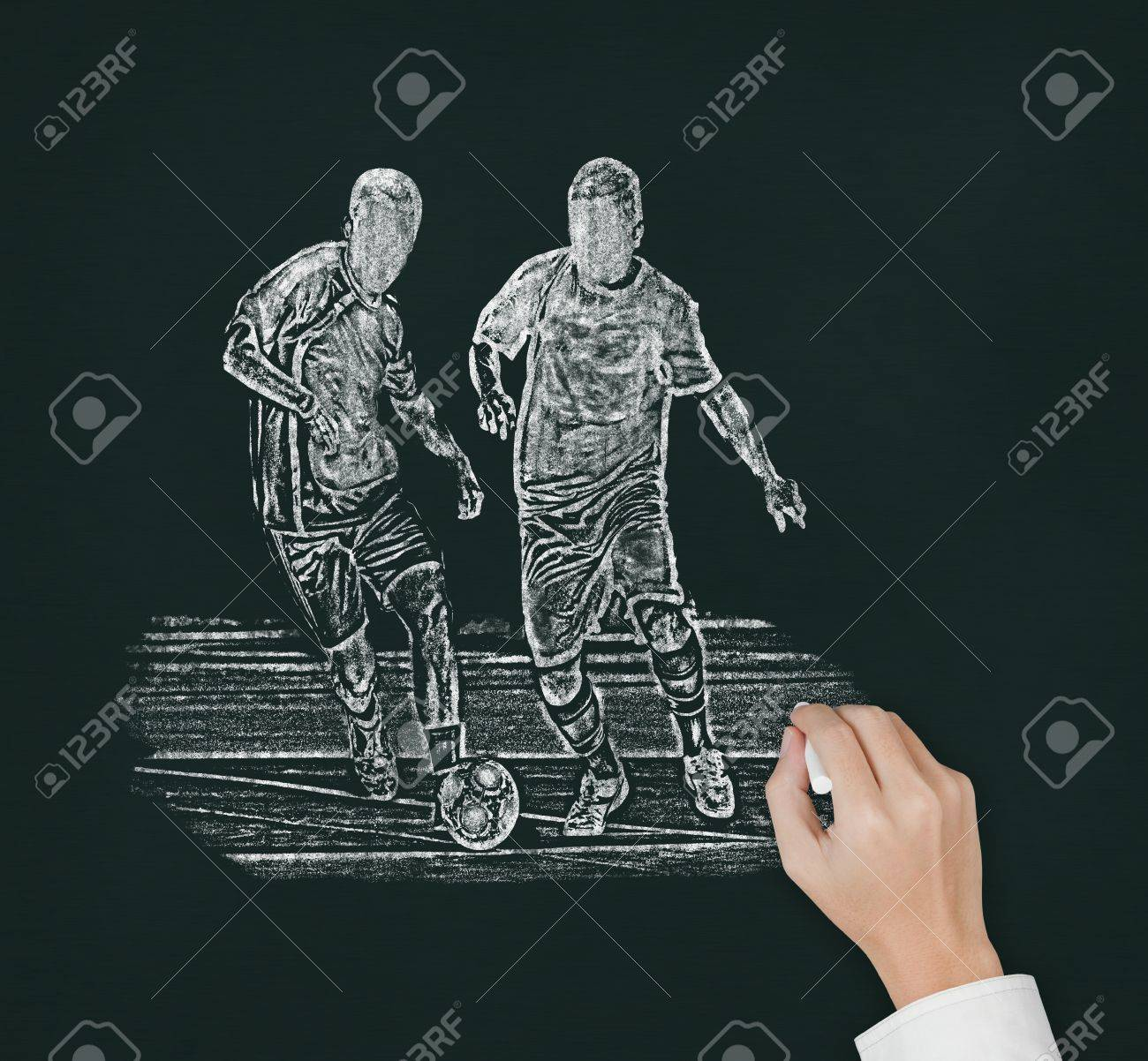 Soccer Coach Hand Drawing Two Player Catching The Ball